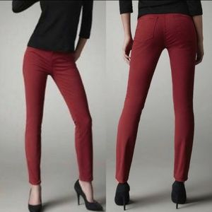 J Brand Skinny Jeans Mid Rise Black Cherry Red 24